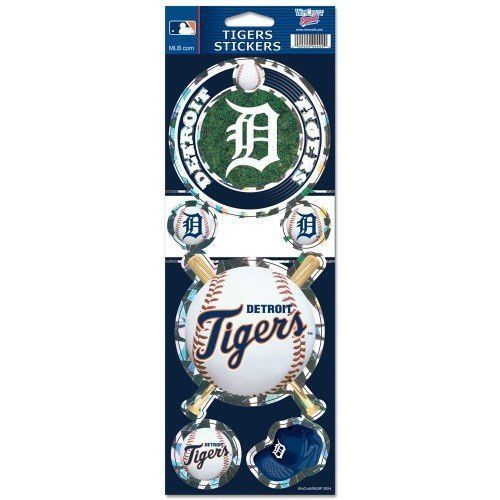DETROIT TIGERS PRISMATIC HOLOGRAPH STICKER DECAL LABEL SHEET OF 5 MLB BASEBALL
