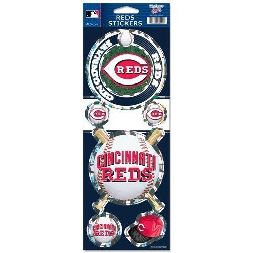 CINCINNATI REDS PRISMATIC HOLOGRAPH STICKER DECAL LABEL SHEET OF 5 MLB BASEBALL