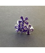 Sterling Silver Ring with Purple Stones, in Flower Design - $19.90
