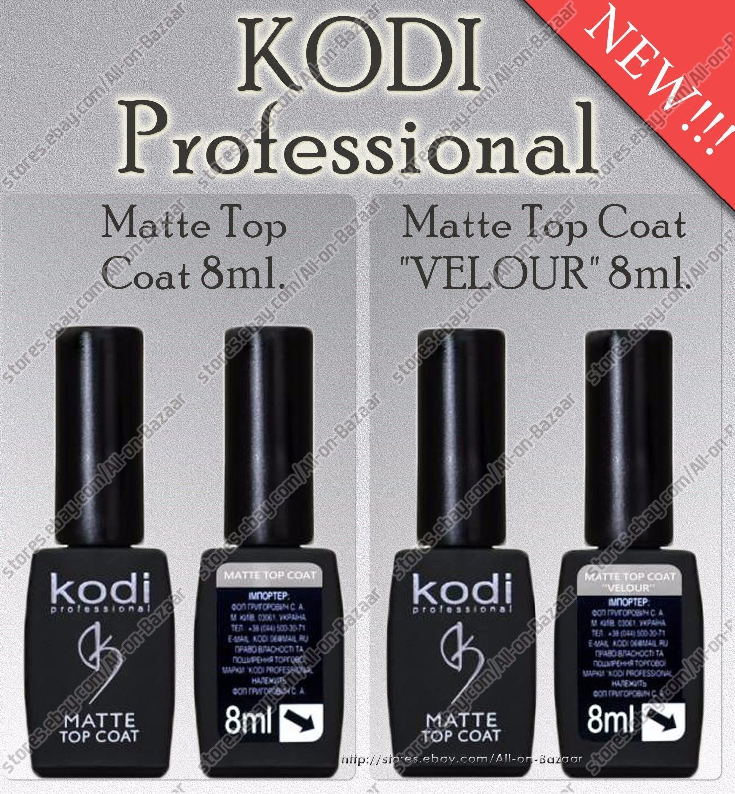 Primary image for Kodi professional - Gel LED/UV Matte Top 8ml. | Matte Top Velour