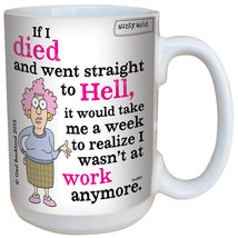 Set/2 Aunty Acid Coffee Mugs - Work Is Hell and Do Not Disturb 16 Oz Cups - $21.97