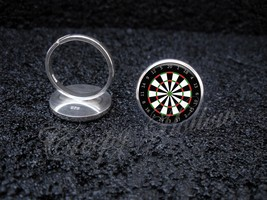 925 Sterling Silver Adjustable Ring Darts Game Dart Board Dartboard - $34.65