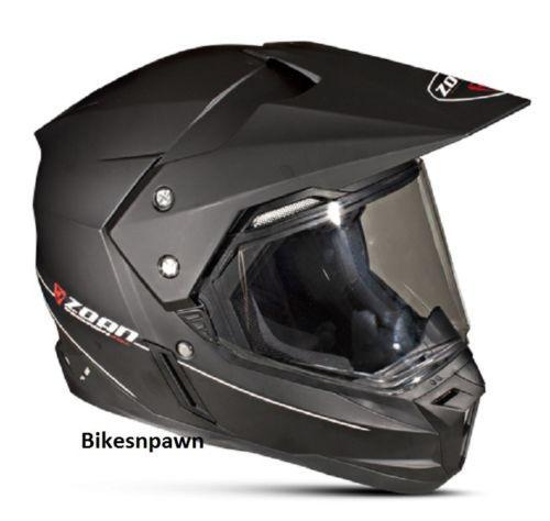 M Zoan Synchrony Dual Sport Matte Black Motorcycle Helmet w/ Sun Shade 521-435