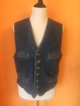 VTG GAP Men's DENIM VEST TAN Quilted Back Plaid Interior SZ M 1990s Hipster - $59.39