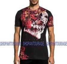 Affliction Black Label Skeleton Flower A21577 New Short Sleeve T-shirt For Men - $62.94
