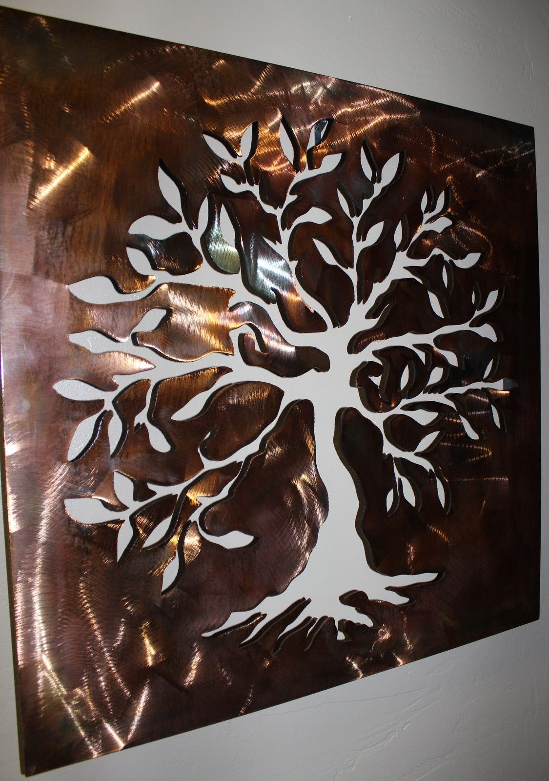 Boxed Olive Tree Panel - Tree of Life Metal Wall Art Decor ...