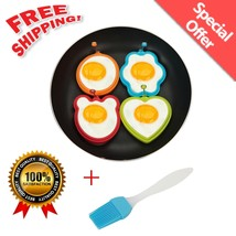 4Pcs Silicone Fried Egg Mold Sweat-heart Ring Cartoon Pancake Non-Stick ... - $10.37 CAD