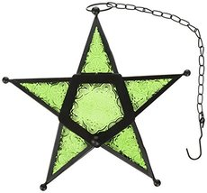 Glass Star Hanging Candle Lantern - Green - $19.76