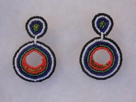 Pair Beaded Indian Style Pierced Earrings Costume Fashion Jewelry - $10.66