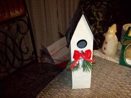 "6#K    12"" Tall Christmas Theme  Metal Birdhouse...very cute! - $9.89"