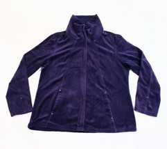 Zenergy by Chicos Purple Zip Front Jacket Velour Rhinestone Accents Size... - $26.72