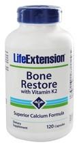 THREE BOTTLES Life Extension Bone Restore K2 Calcium Magnesium D3 NON GMO - $39.24