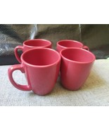 Vintage Corelle Coordinates SOLID RED Maroonish Cups Mugs STONEWARE set of 4  - $48.33