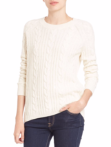 NEW Vince Sequin Cable-Knit Sweater, off -white , wool blend, size M - $113.27