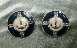 Vintage Silver Tone Blue White Enamel Anchor Nautical Oversized Pierced ... - $10.00