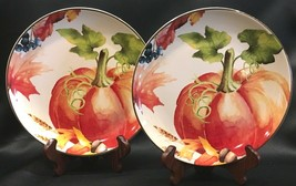 "Pumpkin 8-1/2"" Salad Dessert Plates Set of 2 Better Homes & Gardens Than... - $26.99"