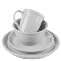 White Carnival Collection 16 Piece Stoneware Dinnerware Set by Home Esse... - $116.77