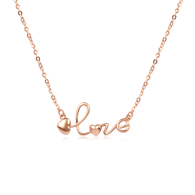 18k Rose Gold Cute You Are My Heart Love Letters Pendant Necklace