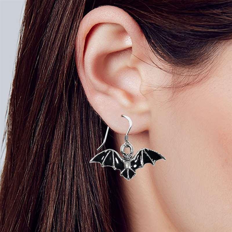Bat Charm Earrings in Silver #532S-ER