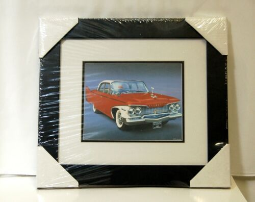 Made On Earth 6716 1960 Red Plymouth Belvedere Matted Framed Serial 3624521