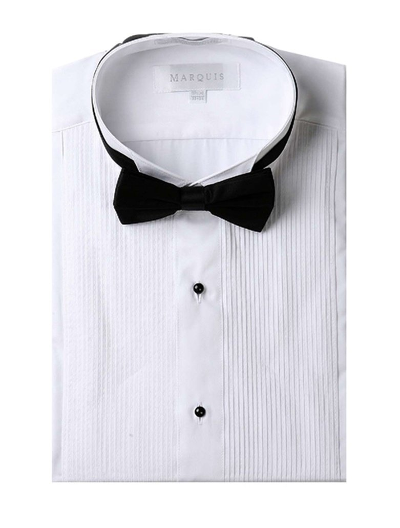 Primary image for Marquis Men's White Regular Fit Tuxedo Shirt with Black Bow Tie