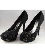 Women's Brash Jeweled Black Vegan Suede Stiletto Heels Pumps Shoes Size ... - $22.95
