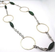 Silver 925 Necklace,Jade Green,Circles Yellow,100 cm, Rolo ' Hammered image 4