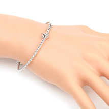 UE- Stylish Silver Tone Designer Twisted Bangle Bracelet With Trendy Kno... - $13.99