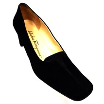 Salvatore Ferragamo Boutique Black Suede Slip On Pumps Italy Womens 7AA ... - $43.34