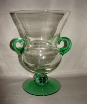 "Rubel Vintage EMERALD GREEN GLASS URN-FORM TROPHY STYLE 9"" VASE Fred Press  - $40.00"