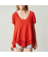 Free People Cookie Short OB576439 Camiseta Sólido Relajado Rojo Talla XS - $45.22