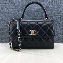 AUTHENTIC CHANEL BLACK QUILTED LAMBSKIN TRENDY CC 2 WAY HANDLE FLAP BAG GHW