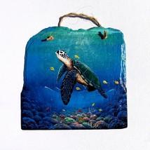 Sea Turtle hand painted Slate Painting animal marine life wall art - £42.25 GBP