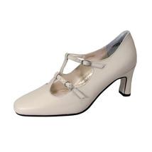 PEERAGE Helena Women Wide Width Leather T-Strap Double Buckles High Heel... - $35.95