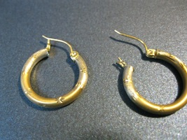 14K Yellow GOLD Satin HOOP EARRINGS with Diamond-cut accents - 3/4 inch ... - $145.00