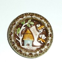 """Adorable Bee & Bee Hive Large Art Stone Shank Button - 1-1/2"""" Bees Tree ... - $14.89"""