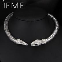 IF ME Trendy Personality Rhinestone Crystal Snake Choker Necklace For Wo... - $29.70