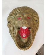 Brass Painted Roaring Lion Head Door Knocker Large - $123.50