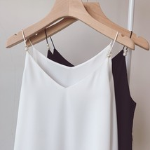 White Women's Chiffon Top Sleeveless V-Neck Chiffon Blouse Tank Tops Pearl Deco  image 8