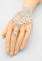 SILVER CRYSTAL RHINESTONE BRIDAL EVENING HAND CHAIN - $12.95