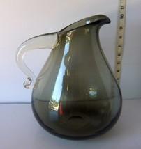 "Beautiful Hand Blown Smoky Gray Glass 11"" Water... - $40.68"