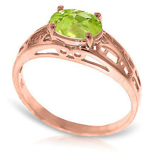 Brand New 14K Solid Rose Gold Filigree Ring with Natural Peridot - $228.79