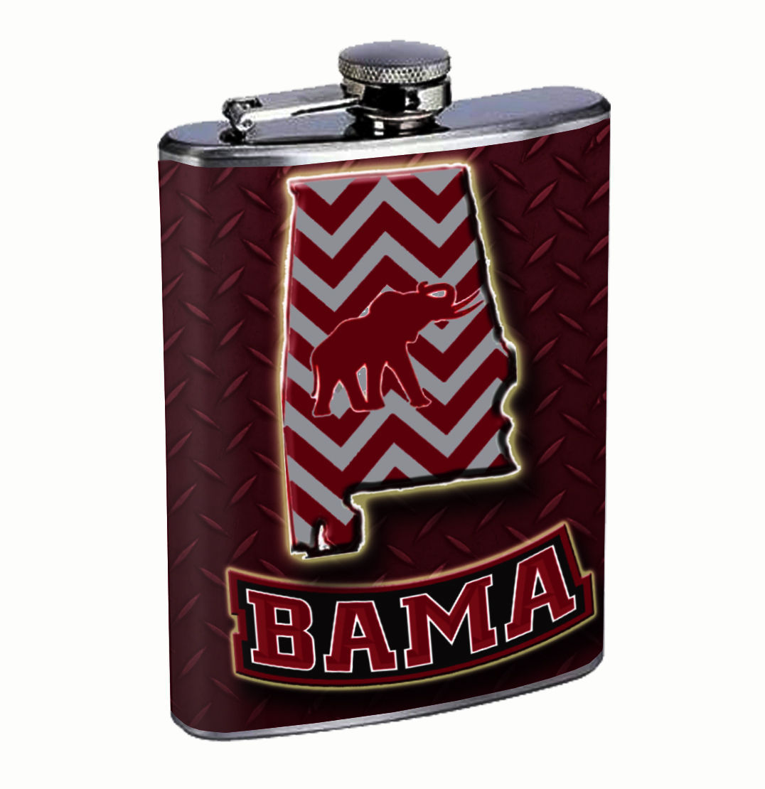 Alabama Bama 8oz Flask FanMade Stainless Steel Drinking Whiskey