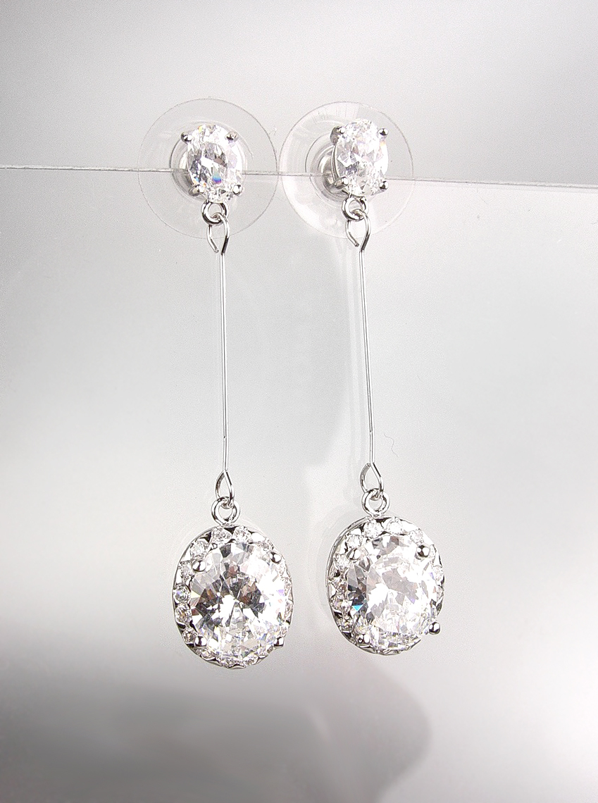 Primary image for EXQUISITE & STUNNING 18kt White Gold Plated CZ Crystals Drop Dangle Earrings