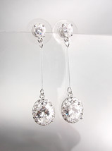 EXQUISITE & STUNNING 18kt White Gold Plated CZ Crystals Drop Dangle Earr... - $25.99