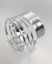 CHIC & STYLISH Smooth Silver Metal Coiled Bangle Bracelet  - $12.99