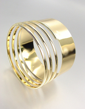 Chic & Stylish Smooth Gold Metal Coiled Bangle Bracelet  - $12.99