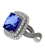 Cushion tanzanite AAA diamonds solitaire with a... - $6,596.64