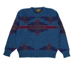 Vtg EDDIE BAUER Chunky Teal Blue & Green Wool Knit Southwestern Sweater ... - $24.74