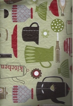 Kitchen Utensils Vinyl Tablecloth with Flannel Back  - $11.99+
